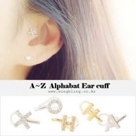 ★A~Z★ALPHABET EAR CUFFS [2 types][Initials]