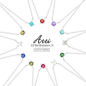 ★Silver 925 ★ATTI 12 Birthstones Necklace[silver necklace][simple]
