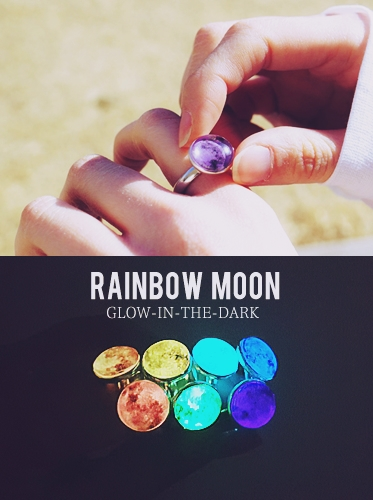 ★Silver 925★Rainbow Moon Therapy Ring[Glow in the Dark]