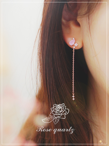 ★silver post ★ Whispers of Love  Ⅱ Earring [natural rose quarts gemstone]